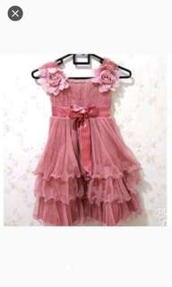 Flower pink dress anak / gaun pesta