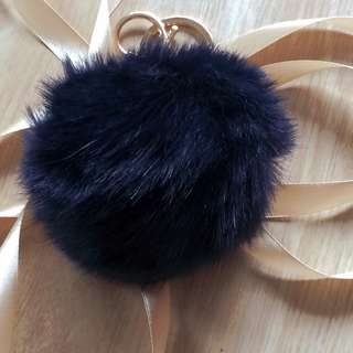 Keyring Fluffy Rabbit Fur HandBag Pendant Charm Soft Ball Pompom Keychain