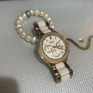 正貨DKNY CREAMIC玫瑰金陶瓷女裝手錶