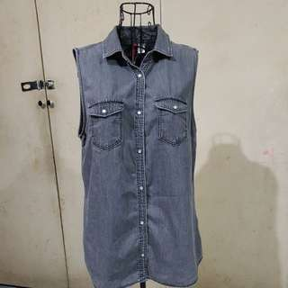 Sleeveless denim button down shirt