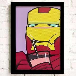 🚚 惡搞 漫威 🥤鋼鐵人 掛畫 壁飾