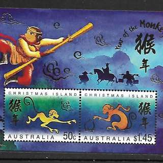 2004澳大利亞所屬聖誕島郵票,生肖猴,小全張。