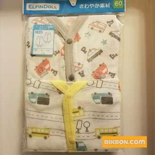 [全新] ELFINDOLL 開胸 包屁 背心 夾衣 一套兩件 白色撞灰邊黃邊 車車圖案 60/70/80cm