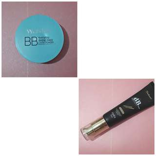 Wardah BB everyday shine free loose powder dan Purbasari BB cream