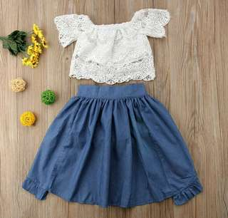🚚 Off shoulder white lace top with denim ruffled skirt
