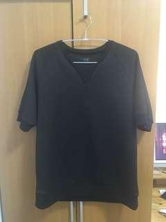 Zara man 特殊布料 短袖 衛衣 太空棉 海軍藍