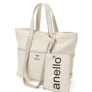 日本 Anello 2018年新款 全米白色 高級帆布 子母袋 手挽袋