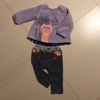 冬季可愛貓咪嬰兒衫褲
