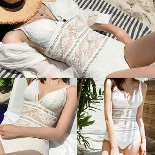 ✔ Crotchet Lace Push-up Padded One Piece Monokini Bikini Swimsuit (White)