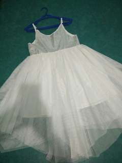 Girls White Sequin Tulle Dress