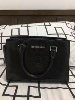 For Sale MK Medium Selma Bag, Embossed Leather, BLACK Lightly Used
