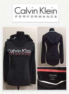 Calvin Klein Performance Quick Dry Logo Hoodie Shirt - Charcoal/Neon