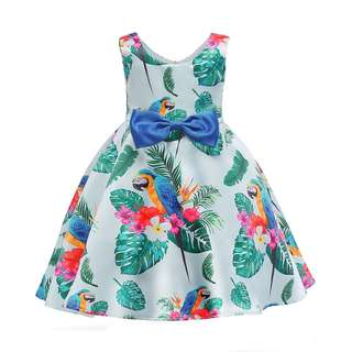 Girl Ball Gown Bird Tropical Pattern Princess Gown