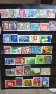 Switzerland Stamps lot of 37 pcs 1940s to 1980s vintage