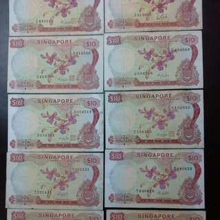 10 Singapore $10 Orchid Notes