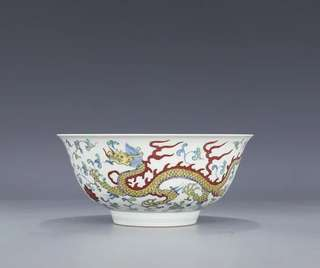 Ceramic Bowl with Hand-painted Contrasting Colours Blue and White Dragon Logo