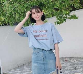 棉林珊珊夏季bf宽松冰淇淋色字母印花短袖T恤女上衣