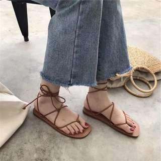 簡約綁帶羅馬平底鞋涼鞋