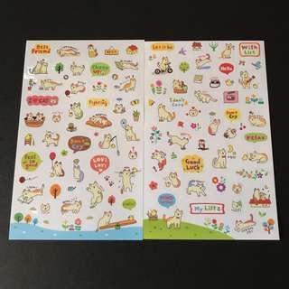 包郵*日韓國可愛卡通小貓小狗貼紙2張