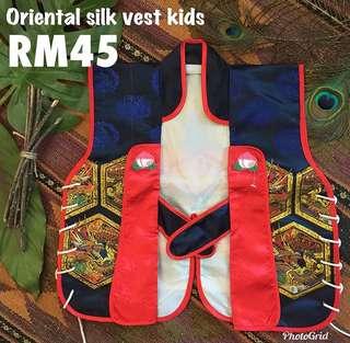 Oriental silk vest