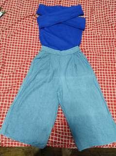 Blue off shoulder and denim square pants