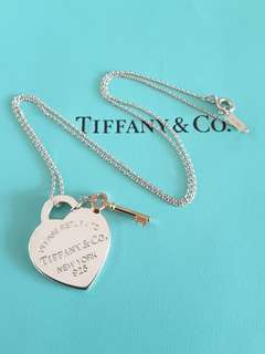 Tiffany & Co Heart Necklace with Gold Key