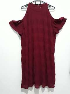 Dress maroon bigsize