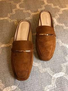 Brown slider loafers