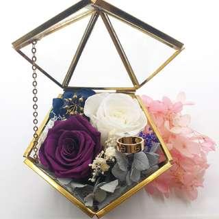 保鮮花訂婚,求婚玻璃介子盒,家居擺設,辦公室擺設