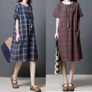 (L~2XL) Plus size Summer Women's Cotton Plaid Long Dress