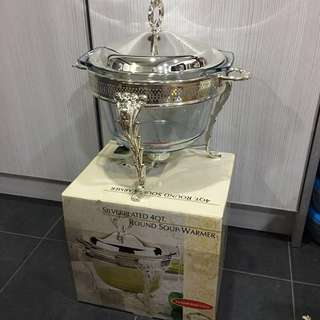 Silverplated Round Soup Warmer - (Queen Anne Inspired)