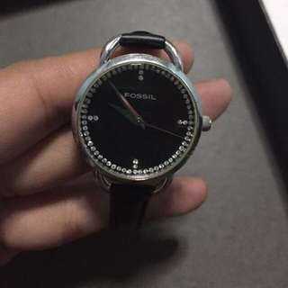 FOSSIL Black Leather Women's Watch