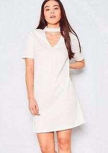White Choker Shift Dress