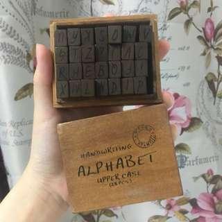 Wooden Alphabet Rubber Stamp Set