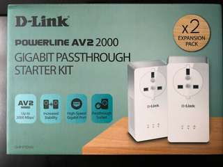 Dlink Powerline AV2 2000 Gigabit passthrough starter kit
