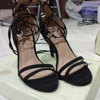Something Borrowed Black Double Strap Lace Up Heels