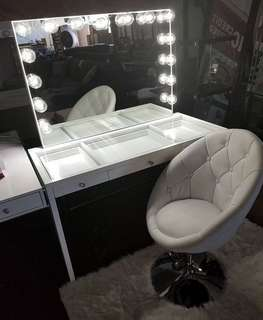 Sale! Vanity Table and Hollywood frameless mirror