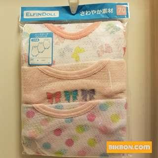 [全新] ELFINDOLL BB 嬰兒 背心 夾衣 包屁 連身衣 波波 絲帶 一套三件 70/80/90cm
