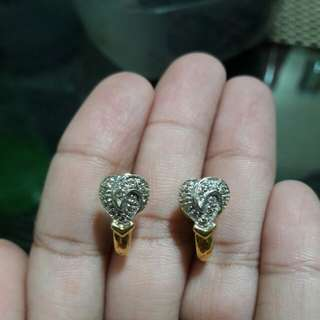 14k gold heart with brill titus earings