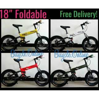 """18"""" CROLAN Foldable Bikes ✩ """"Rover"""" design ✩ next working day self collect @348 Bedok or free delivery upon full payment and orders confirmed *Brand new bicycles"""