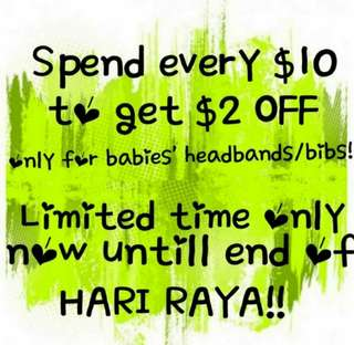 Spend $10 to get $2 off for babies' items!