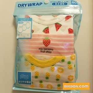 [全新] DRYWRAP 速乾衣 BB 嬰兒 背心 夾衣 包屁 連身衣 西瓜.士多啤梨.菠蘿 一套三件 80/90cm