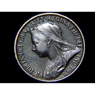 1900年大英帝國不列顛尼亞女神坐像1/4便士銅幣(英女皇維多利亞老年像, 好品)