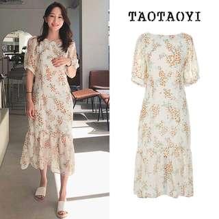 (S~XL) 2018 Summer Korea V Collar Floral Frill Chiffon Dress Dress