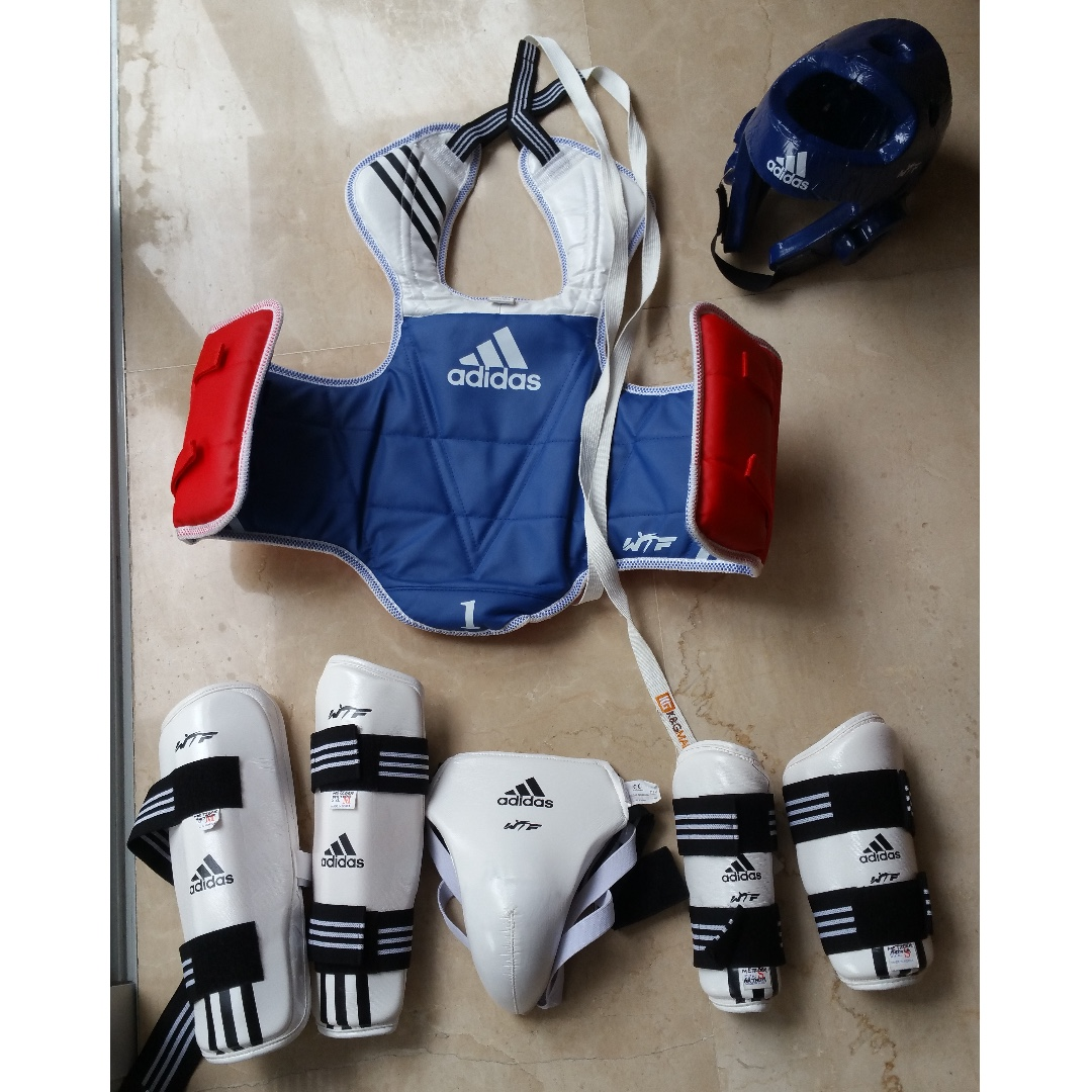 Starter NEW Adidas WTF APPROVED Martial Arts Taekwondo TKD Sparring Gear Set