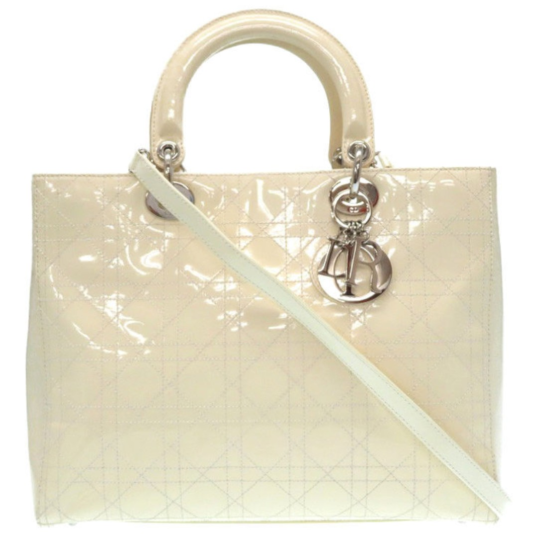 2b958fca82 Auth Christian Dior LADY DIOR Patent Leather Cannage Hand Bag Strap ...