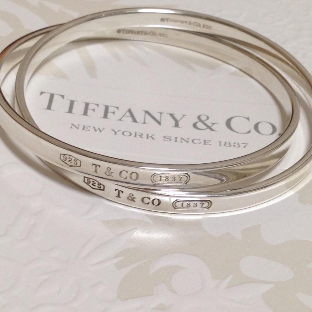 ccebb3b845aa5 Authentic Tiffany & Co. 1837 Interlocking Silver Bangle Cuff ...