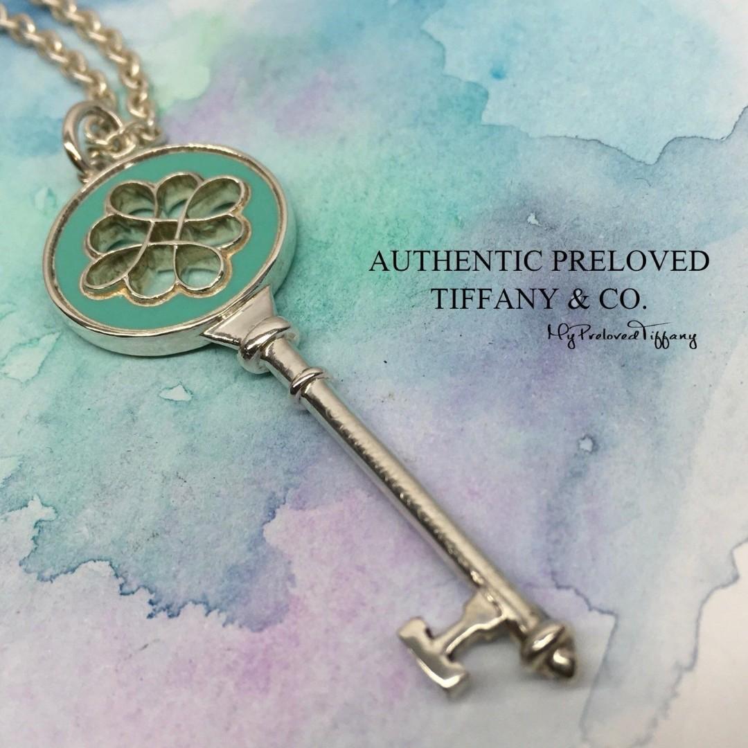 b87fcd2a7877 Authentic Tiffany   Co. Blue Enamel Large Knot Key Charm Necklace ...