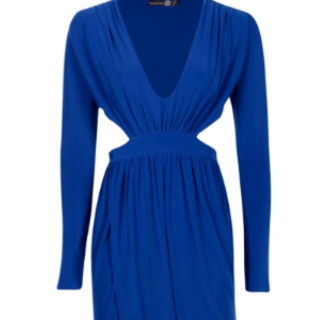 Cobalt Blue Cut Out Wrap Midi Dress- Size 12