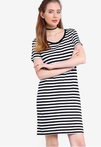 f7ed3ba0eb factorie black   white striped dress